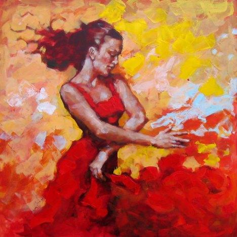 Flamenco, guhit ni Renata Domagalska.