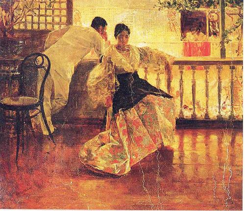 """Ang Pasamano » """"Tampuhan,"""" oleo sa kanbas, pintura ni Juan Luna"""