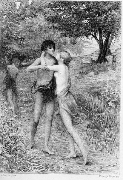 Yakap (1890), guhit ni Raphaël Collin