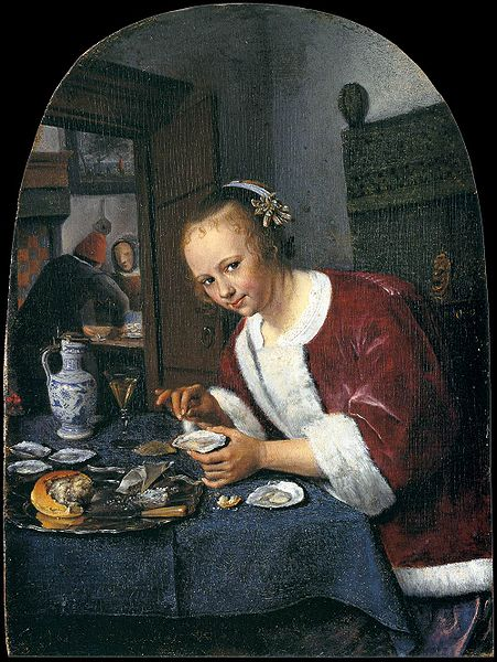 Babaing kumakain ng talaba, pintura ni Jan Steen