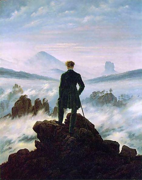 Der Wanderer über dem Nebelmeer (Manlalakbay sa ibabaw ng ulop ng dagat) ni Caspar David Friedrich, 1818, oleo sa kambas, 94.8 x 74.8 cm, Kunsthalle, Hamburg, Deutschland.