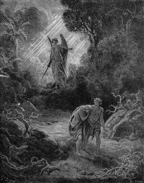 """""""Pagpapalayas kina Eba at Adan sa Paraiso,"""" ni Paul Gustave Doré"""