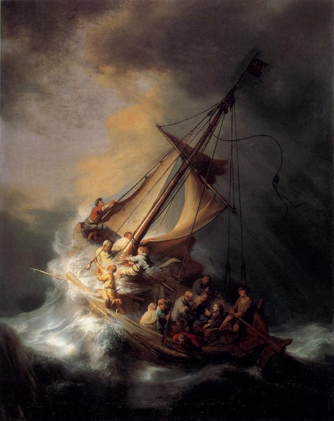 Si Kristo sa unos sa laot, pintura ni Rembrandt van Rijn, 1633