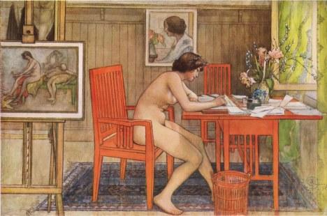 Babaeng lumiliham, ni Carl Larsson, 1906.