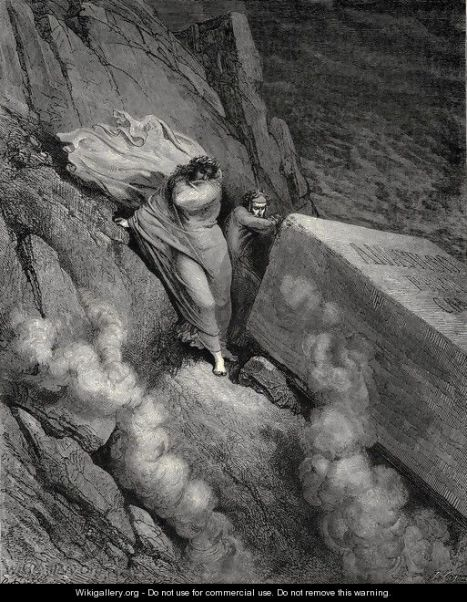 Guhit ni Gustave Dore, batay sa Impiyerno, canto 11, taludtod 6-7, ni Dante Alighieri.