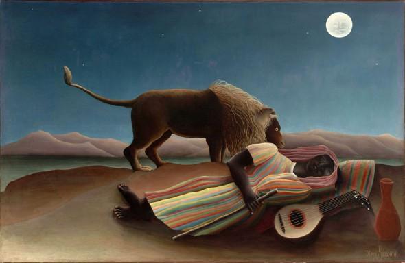 """Ang Natutulog na Hitana"" (La Bohemienne endormie), oleo sa kambas ni Henri Rousseau, 1897."