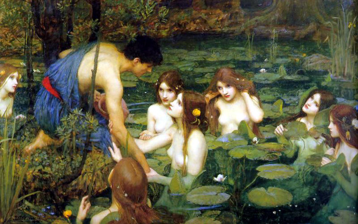 """""""Si Hylas at ang mga Nimpa,"""" ni John William Waterhouse, 1896."""