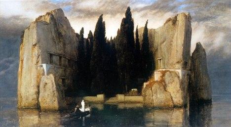 Pulo ng mga Kaluluwa, oleo sa kambas, pintura ni Arnold Boecklin, 1883.