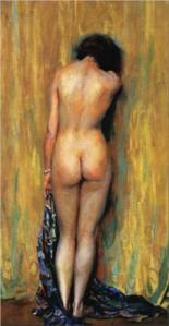 Babaeng hubad, guhit ni Guy Rose, oleo, 71.12 x 38.1 cm. Dominyo ng publiko.